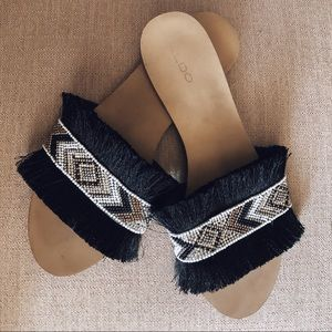 Aldo Beaded Fringe Slide Sandals